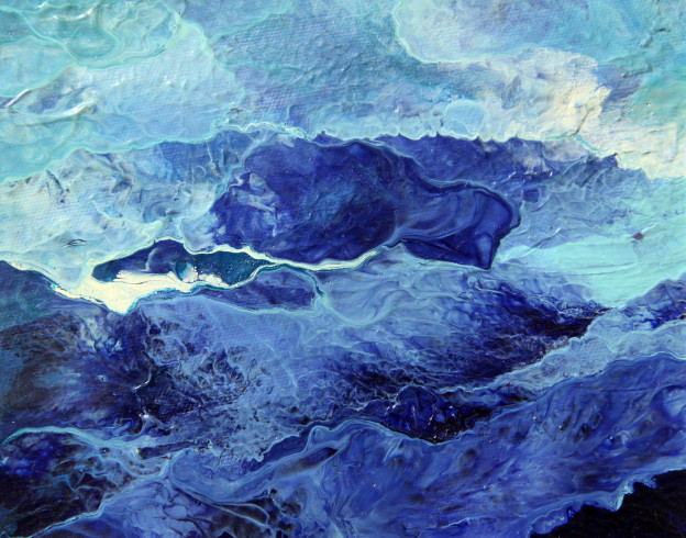"Cheng-Yi Huang - Blue Ocean 25, Oil on Canvas,  6.8"" x 5.5"", 2013"