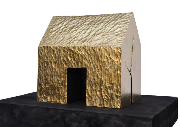"Michael Wolf - Golden Sections, Cherry Wood, Gold Leaf,  9.75"" x 6.125"" x 9.75"", 2013"