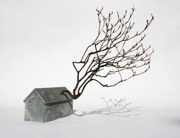 "Michael Wolf - Shotgun House, Stone, Wood, Branch, 20"" x 22"" x 24"", 2011"